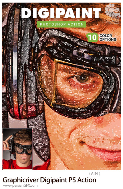 دانلود اکشن فتوشاپ تبدیل تصاویر به نقاشی دیجیتالی از گرافیک ریور - Graphicriver Digipaint Photoshop Action