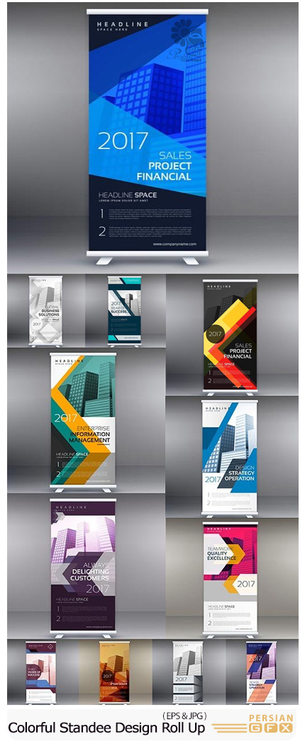 دانلود تصاویر وکتور قالب آماده بنرهای استند تجاری رنگی - Colorful Standee Design Roll Up Template Vector