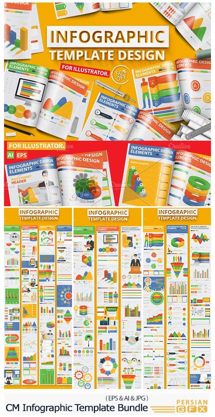 دانلود مجموعه تصاویر وکتور قالب آماده نمودارهای اینفوگرافیکی تجاری - CM Infographic Template Bundle