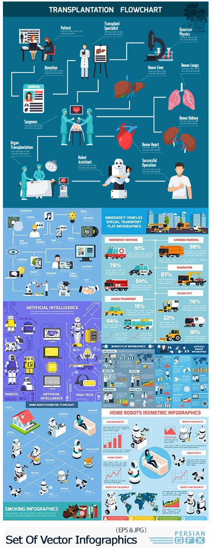 دانلود تصاویر وکتور نمودارهای اینفوگرافیکی هوش مصنوعی، پیوند اعضا، رباتیک، دود و ... - Set Of Vector Infographics