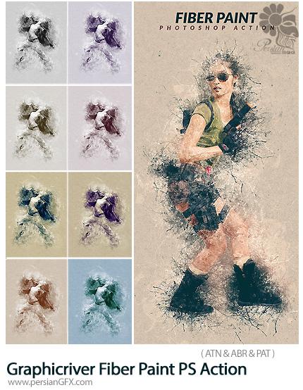 دانلود اکشن فتوشاپ تبدیل تصاویر به نقاشی ریشه ای به همراه آموزش ویدئویی از گرافیک ریور - Graphicriver Fiber Paint Photoshop Action