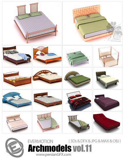 دانلود مدل های آماده سه بعدی آرچ مدل - تخت با Sheest، تشک، پتو، بالش ... - شماره 11- Archmodels Vol 11