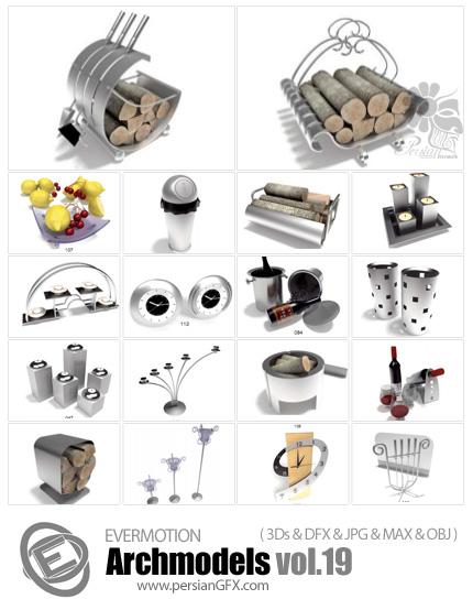 دانلود مدل های آماده سه بعدی آرچ مدل - المان ها، لوازم شومینه، شمعدان، ساعت ... - شماره 19- Archmodels Vol 19