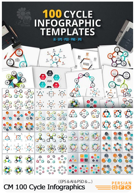 دانلود 100 تصویر وکتور نمودارهای اینفوگرافیکی دایره ای متنوع - CM 100 Cycle Infographics