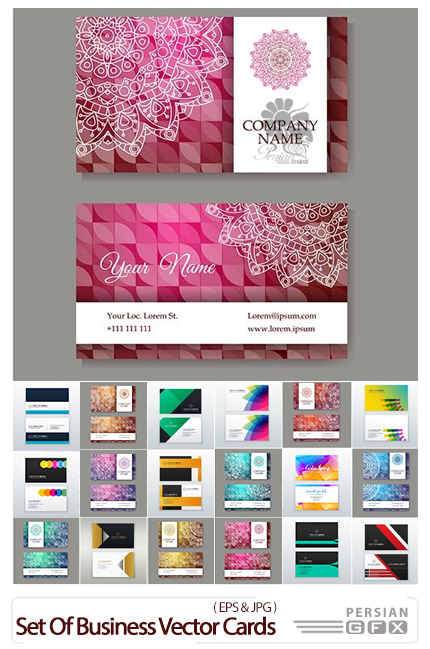 دانلود مجموعه تصاویر وکتور کارت ویزیت با طرح های متنوع ماندالا - Set Of Business Vector Cards In Retro Style With Mandala