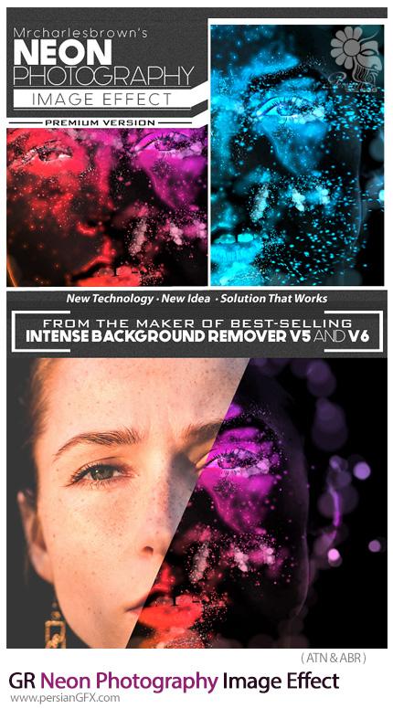 دانلود اکشن ساخت تصاویر فتوگرافی با افکت نورهای نئون به همراه آموزش ویدئویی از گرافیک ریور - Graphicriver Neon Photography Image Effect