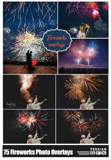دانلود 75 تصویر کلیپ آرت آتش بازی - 75 Fireworks Photo Overlays