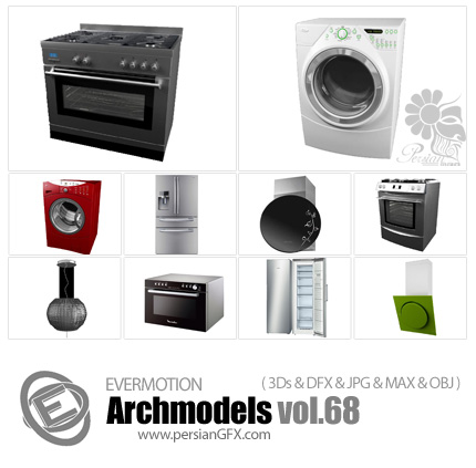 دانلود مدل های آماده سه بعدی آرچ مدل - آبجکت آماده از وسایل آشپزخانه مانند یخچال و هود و فر ... - شماره 68 - Archmodels 68