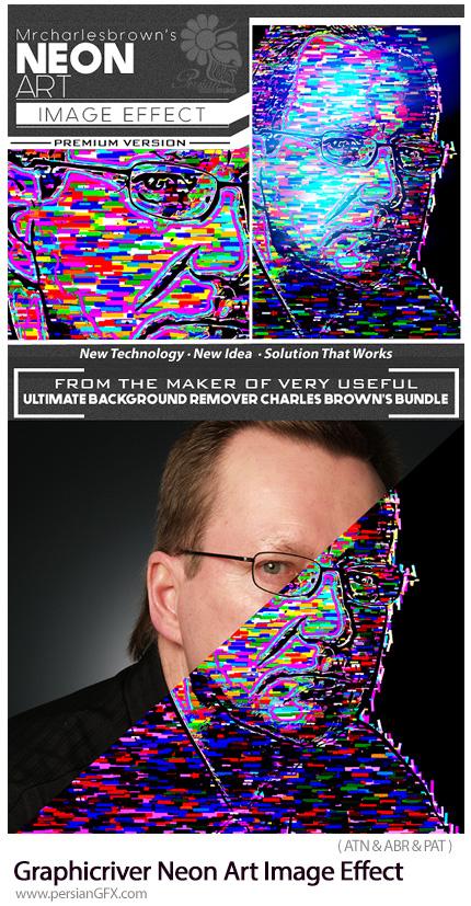 دانلود اکشن فتوشاپ ایجاد افکت هنری نورهای رنگی نئون بر روی تصاویر از گرافیک ریور - Graphicriver Neon Art Image Effect