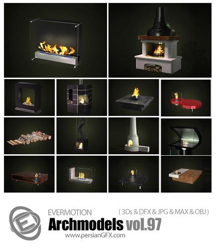 دانلود مدل های آماده سه بعدی آرچ مدل - آبجکت آماده از انواع شومینه ... - شماره 97 - Archmodels 97