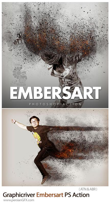 دانلود اکشن فتوشاپ ایجاد افکت ذرات پراکنده آتشین بر روی تصاویر به همراه آموزش ویدئویی از گرافیک ریور - Graphicriver Embersart Photoshop Action