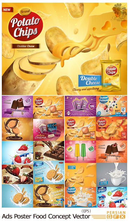 دانلود تصاویر وکتور پوسترهای تبلیغاتی مواد غذایی متنوع - Advertising Poster Food Concept Vector