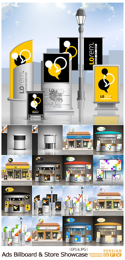 دانلود مجموعه تصاویر وکتور بیلبورد و ویترین های تبلیغاتی متنوع - Advertising Billboard Ad Store Showcase