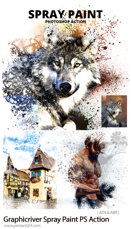 دانلود اکشن فتوشاپ تبدیل تصاویر به نقاشی با اسپری از گرافیک ریور - Graphicriver Spray Paint Photoshop Action