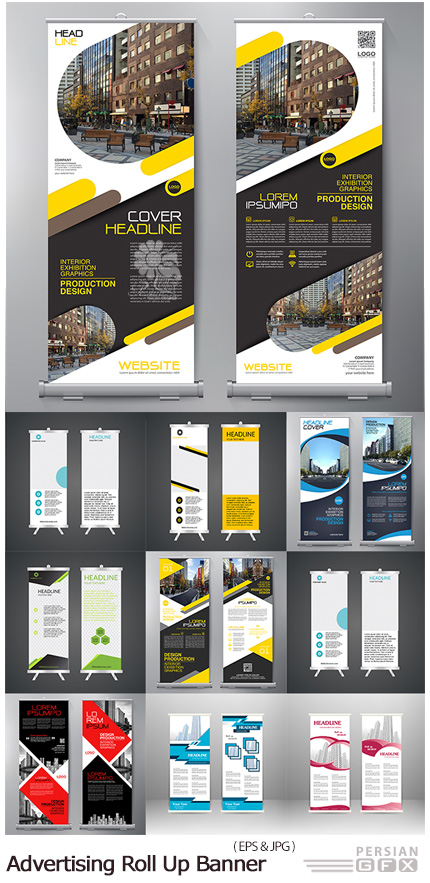 دانلود تصاویر وکتور قالب آماده بنرهای استند تبلیغاتی - Advertising Roll Up Banner Vector