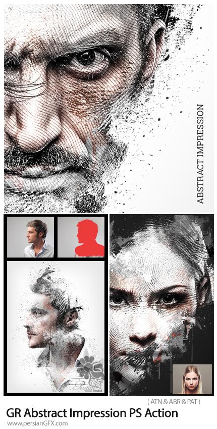 دانلود اکشن فتوشاپ تبدیل تصاویر به طرح انتزاعی اثرانگشت به همراه آموزش ویدئویی از گرافیک ریور - Graphicriver Abstract Impression Photoshop Action