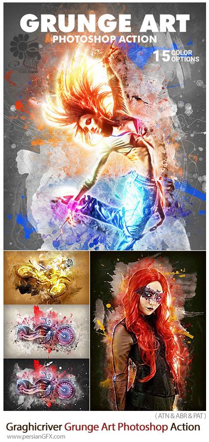 دانلود اکشن فتوشاپ ساخت تصاویر هنری گرانج از گرافیک ریور - Graghicriver Grunge Art Photoshop Action