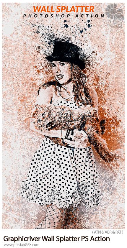 دانلود اکشن فتوشاپ تبدیل تصاویر به نقاشی اسپری دیواری به همراه آموزش ویدئویی از گرافیک ریور - Graphicriver Wall Splatter Photoshop Action