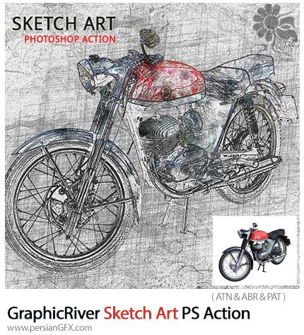 دانلود اکشن فتوشاپ تبدیل تصاویر به طرح اولیه نقاشی به همراه آموزش ویدئویی از گرافیک ریور - GraphicRiver Sketch Art Photoshop Action
