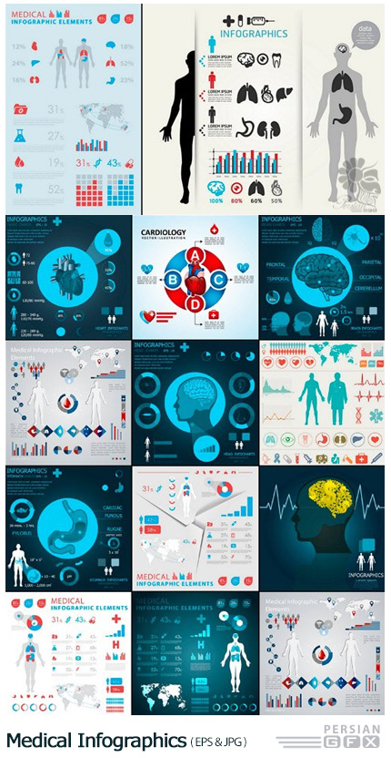 دانلود تصاویر وکتور قالب آماده نمودارهای اینفوگرافیکی پزشکی - Medical Infographics