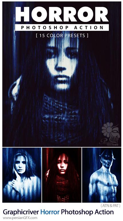 دانلود اکشن فتوشاپ ایجاد افکت فیلم ترسناک بر روی تصاویر از گرافیک ریور - Graphicriver Horror Photoshop Action