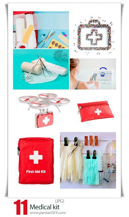 دانلود تصاویر با کیفیت کیف کمک های اولیه، دارو، باند، چسب زخم، دارو و ... - Medical kit