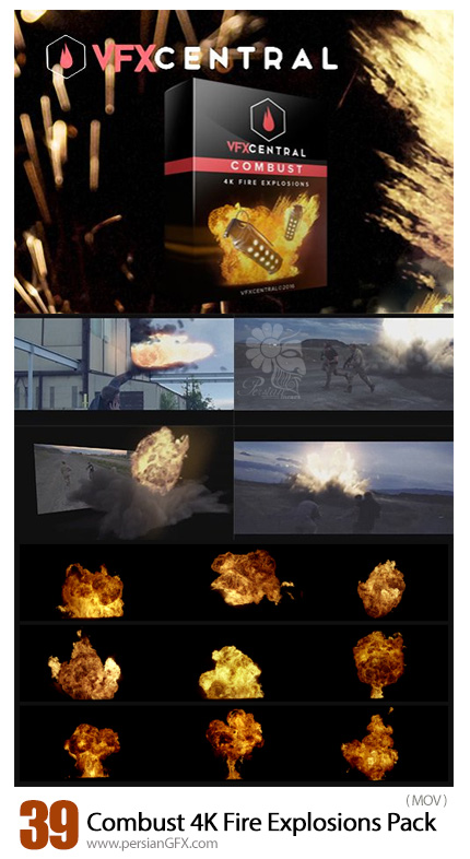 دانلود 39 فوتیج آماده آتش و انفجار برای ویدئو - VfxCentral Combust 4K Fire Explosions Pack