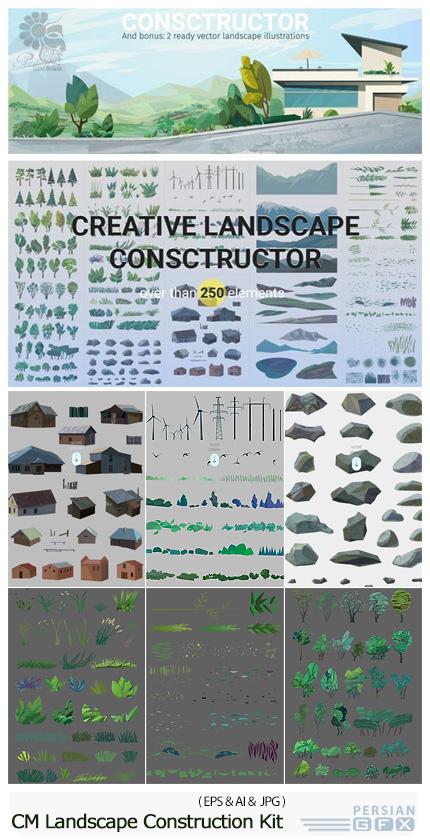 دانلود مجموعه تصاویر وکتور عناصر طراحی منظره، کوه، درخت، خانه، بت و جقه و ... - CM Creative Landscape Construction Kit