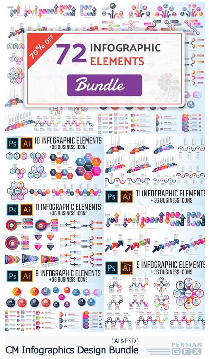 دانلود مجموعه تصاویر وکتور نمودارهای اینفوگرافیکی متنوع - CM Infographic Template Bundle