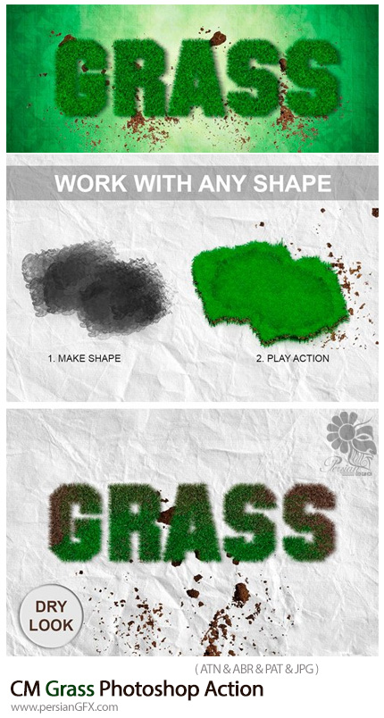 دانلود اکشن فتوشاپ ایجاد افکت چمن بر روی متن و اشکال - CM Grass Photoshop Action