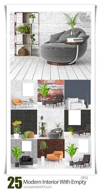 دانلود تصاویر با کیفیت طراحی داخلی مدرن با فریم های خالی - Modern Interior With Empty Frame 3D Rendering