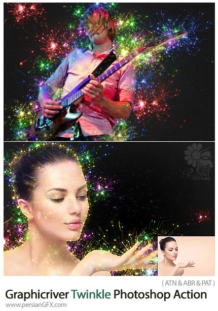 دانلود اکشن فتوشاپ ایجاد افکت جرقه های نورانی رنگارنگ بر روی تصاویر از گرافیک ریور - Graphicriver Twinkle Photoshop Action