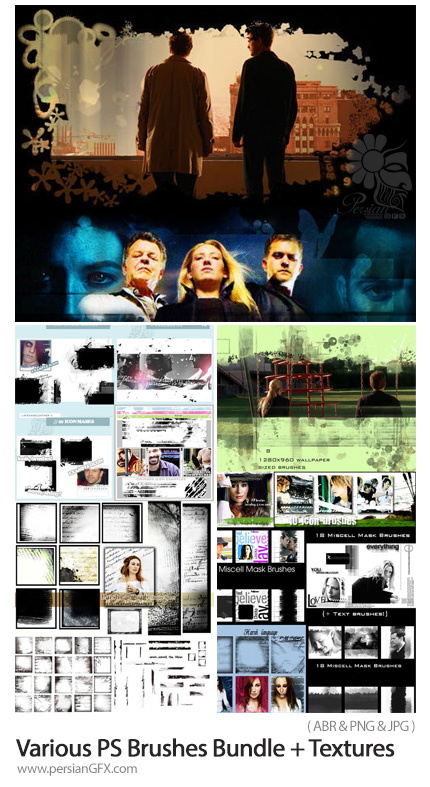 دانلود مجموعه براش فتوشاپ طراحی والپیپر، بنر، فریم، حاشیه و ... به همراه تکسچر متنی - Various Photoshop Brushes Bundle + Textures