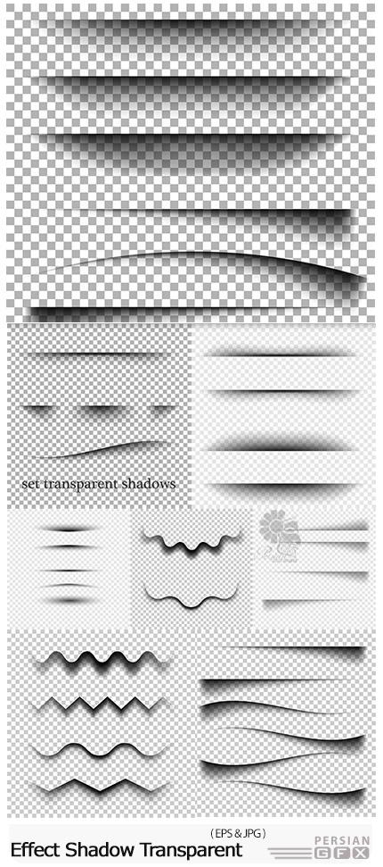 دانلود تصاویر وکتور افکت سایه شفاف برای لبه و خطوط متنوع - Effect Realistic Shadow Transparent Background