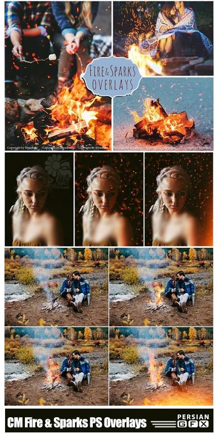 دانلود 60 تصویر کلیپ آرت افکت آتش و جرقه برای تصاویر - CM Fire And Sparks Photoshop Overlays