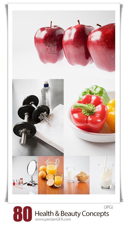 دانلود مجموعه تصاویر با کیفیت مواد غذایی سالم و لوازم آرایشی - Image Source Health And Beauty Concepts