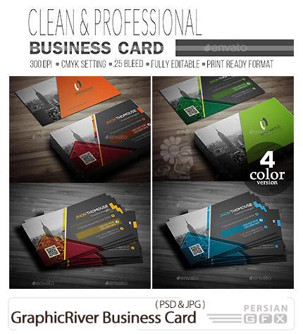 دانلود تصاویر لایه باز کارت ویزیت با چهار رنگ متنوع از گرافیک ریور - GraphicRiver Business Card