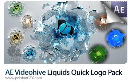 دانلود پروژه آماده افترافکت نمایش لوگو با افکت مایعات سیال به همراه آموزش ویدئویی از ویدئوهایو - e Liquids Quick Logo Pack After Effects Templates