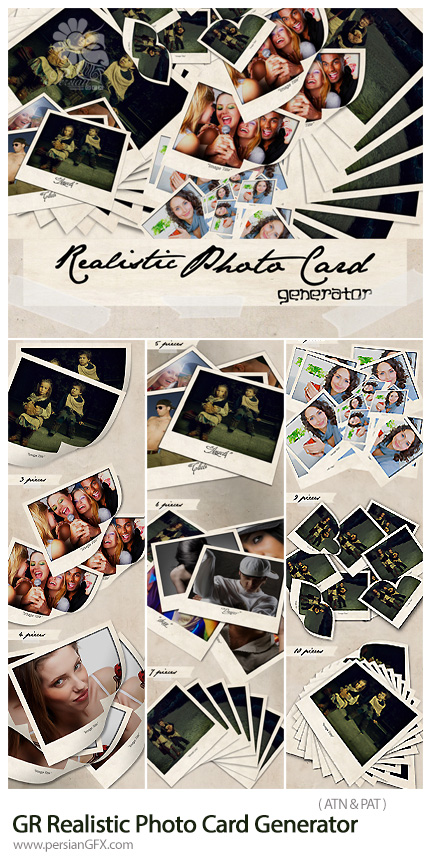 دانلود اکشن فتوشاپ ساخت کارت عکس واقعی از گرافیک ریور - Graphicriver Realistic Photo Card Generator