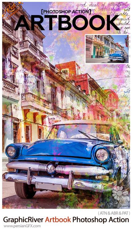 دانلود اکشن فتوشاپ تبدیل تصاویر به کتاب هنری به همراه آموزش ویدئویی از گرافیک ریور - GraphicRiver Artbook Photoshop Action