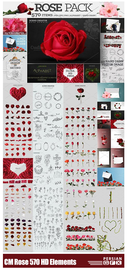 دانلود بیش از 570 تصویر کلیپ آرت عناصر طراحی گل رز، گلبرگ، شاخه گل و ... - CM Rose Pack 570 Ultra HD Elements