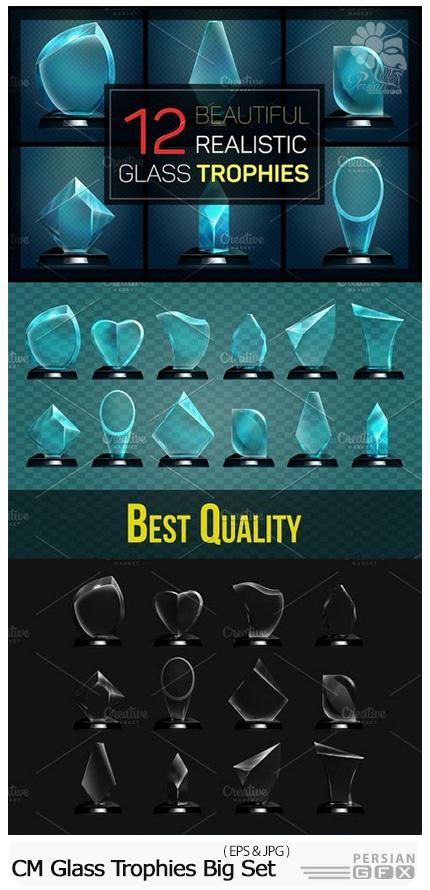دانلود 12 تصویر وکتور قالب آماده جایزه های شیشه ای متنوع - CM Glass Trophies Big Set