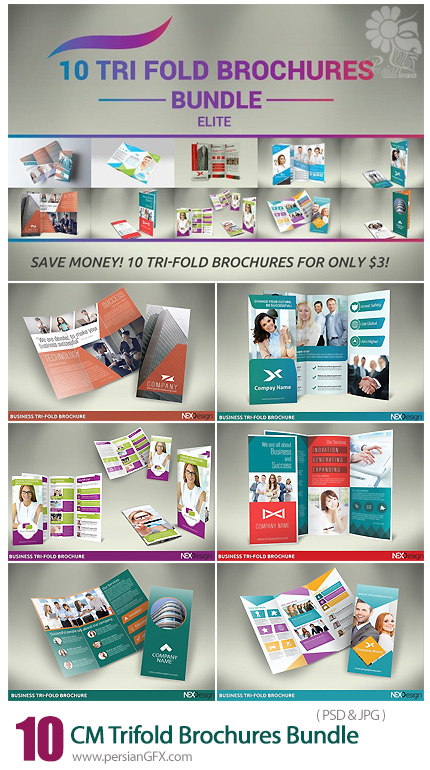 دانلود 10 قالب لایه باز بروشورهای سه لت تجاری - CreativeMarket 10 Trifold Brochures Bundle