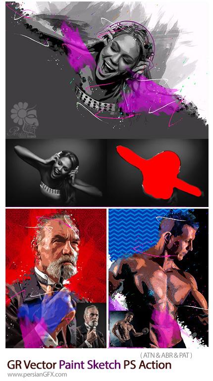 دانلود اکشن فتوشاپ تبدیل تصاویر به نقاشی وکتور به همراه آموزش ویدئویی از گرافیک ریور - GraphicRiver Vector Paint Sketch Photoshop Action