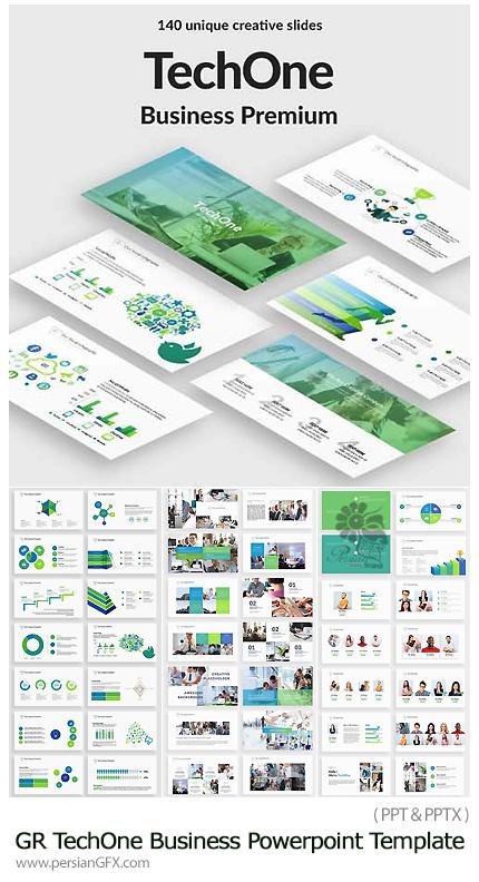 دانلود مجموعه قالب آماده تجاری پاورپوینت از گرافیک ریور - Graphicriver TechOne Business Powerpoint Template