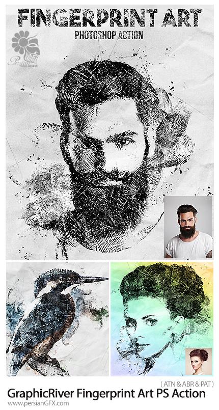 دانلود اکشن فتوشاپ ساخت تصاویر هنری با اثرانگشت از گرافیک ریور - GraphicRiver Fingerprint Art Photoshop Action