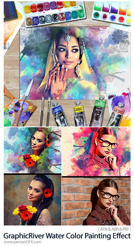 دانلود اکشن فتوشاپ ساخت نقاشی با افکت آبرنگی به همراه آموزش ویدئویی از گرافیک ریور - GraphicRiver Water Color Painting Effect