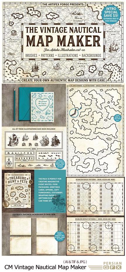 دانلود تصاویر وکتور عناصر ساخت نقشه دریایی قدیمی، طرح نقشه، کاغذ نقشه، تصویر کشتی و ... - CM The Vintage Nautical Map Maker