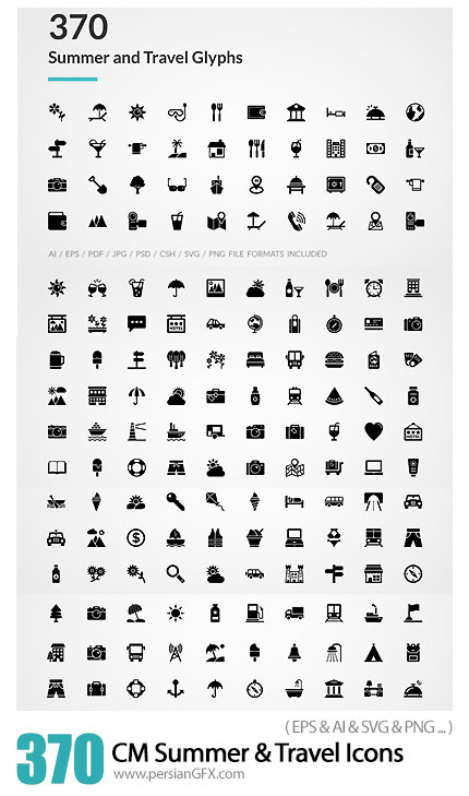 دانلود 370 آیکون تابستان و سفر متنوع - CM 370 Summer And Travel Glyph Icons