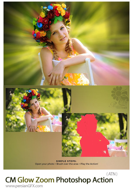 دانلود اکشن فتوشاپ بزگنمایی تصاویر با افکت تابش نور - CM Glow Zoom Photoshop Action